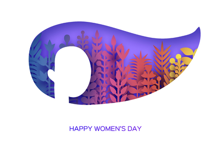 Happy Womens Day Greetings card. 8 March. Paper cutout girl head silhouette cutout with colorful origami flowers and leaves. Mothers day. Spring holidays on purple. Vector.