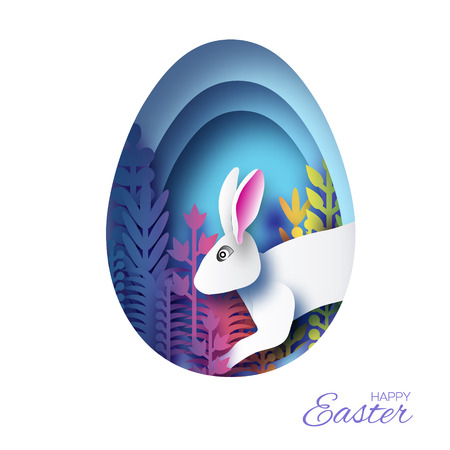Happy Easter Greeting card with paper cut bunny rabbit, colorful spring flowers. Origami Blue Egg shape frame. Place for text. Vector