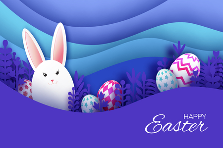 Happy Easter Greeting card with paper cut bunny rabbit, spring flowers, colorful eggs. Origami layered landscape. Place for text. Violet. Happy holidays. Vector