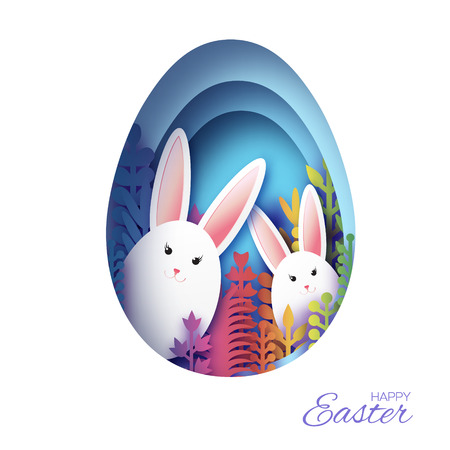Happy Easter Greeting card with paper cut bunny rabbit, colorful spring flowers. Blue Egg shape frame. Place for text. Vector