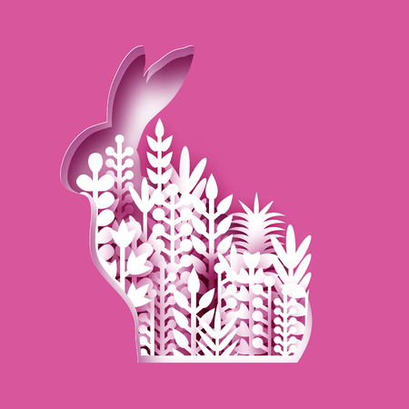 Happy Easter Greeting card with paper cut bunny rabbit, white spring flowers. Origami pink Rabbit shape frame. Place for text. Vector