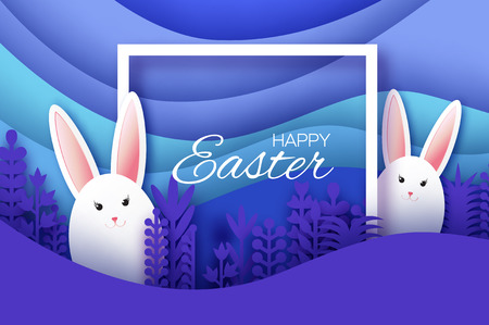 Happy Easter Greeting card with paper cut bunny rabbit, spring flowers. Origami layered landscape. Place for text. Violet. Square frame for text.