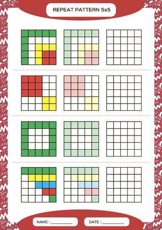 Repita el patrón de colores. Cuadrícula de cubo con cuadrados. Especial para niños en edad preescolar. Hoja de trabajo para practicar la motricidad fina. Mejora de las tareas de habilidades. A4. Snap juego. 5x5.