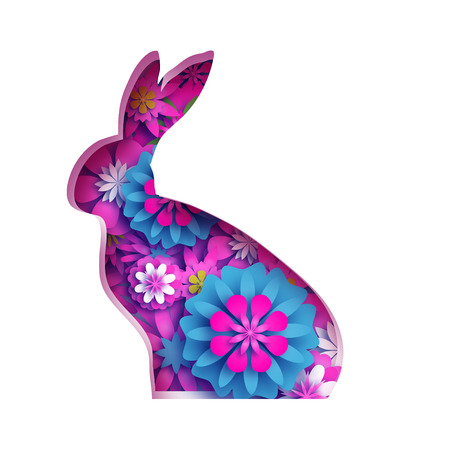 Happy Easter Greeting card with paper cut bunny rabbit, pink spring flowers. Origami Rabbit shape frame. Place for text. Ilustração