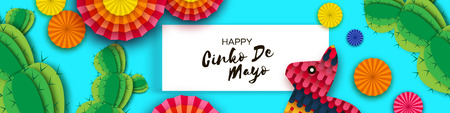 Happy Cinco de Mayo Greeting card. Paper Fan, Funny Pinata, Cactus in paper cut style. Origami Sombrero hat. Mexico, Carnival. Rectangle frame on sky blue. Space for text. Vector