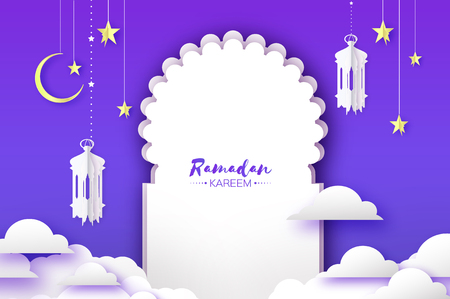 Arabic window arch, lantern with white mosque in papercraft style. Origami Ramadan Kareem greeting card. Crescent Moon and star. Holy month of muslim. Symbol of Islam.