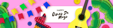 Happy Cinco de Mayo Greeting card. Paper Fan, Guitar, Cactus in paper cut style. Origami Sombrero hat. Mexico, Carnival. Rectangle frame on sky pink. Space for text. Banner. Vector