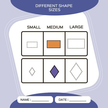 Differnt shape sizes. Small, Medium, Large. Matching children educational game. Activity for pre school years kids and toddlers. Purple background. Rectangle. Rhombus. Vector.
