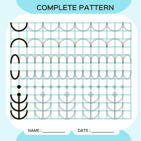Complete pattern. Tracing Lines Activity For Early Years. Preschool worksheet for practicing fine motor skills. Tracing lines. Improving skills tasks. Blue. Arch. Ilustracja