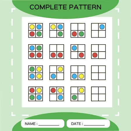 Repeat pattern. Square grid 2x2 with colorfull circles. Special for preschool kids. Color Worksheet for practicing fine motor skills. Improving skills tasks. Snap game. Square frame. Green.