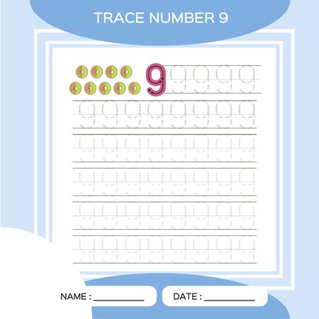 Trace number 9. Nine. Children educational game. Kids learning material. Activity For Early Years. Preschool worksheet for practicing fine motor skills. Blue.Kiwi.
