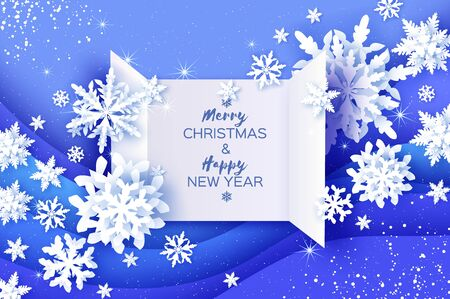 Origami Paper Snowflakes on blue layered background. Merry Christmas and Happy New Year in paper craft style. Magic Snowfall. Ilustracja