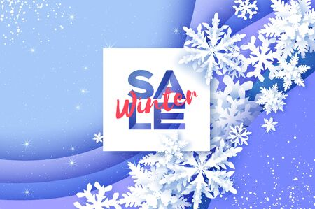 Winter Sale Poster. Origami Paper Snowflakes on blue layered background. Merry Christmas and Happy New Year in paper craft style. Magic Snowfall.