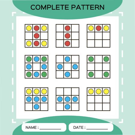 Repeat pattern. Square grid 3x3 with colorfull circles. Special for preschool kids. Color Worksheet for practicing fine motor skills. Improving skills tasks. Snap game. Square frame. Green. Иллюстрация