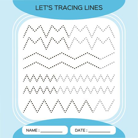 Tracing Lines Activity For Early Years. Preschool worksheet for practicing fine motor skills.Tracing dashed lines. Improving skills tasks. Complete the pattern.Vector A4 ready to print. Blue.