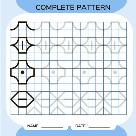 Complete pattern. Tracing Lines Activity For Early Years. Preschool worksheet for practicing fine motor skills. Tracing lines. Improving skills tasks. Dark Blue. Ilustración de vector