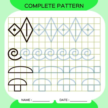 Complete pattern. Tracing Lines Activity For Early Years. Preschool worksheet for practicing fine motor skills. Tracing lines. Improving skills tasks. Green.