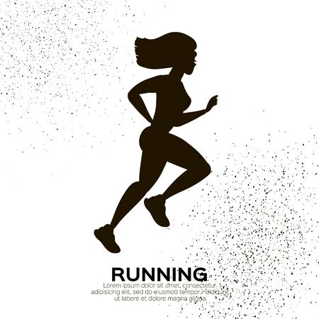 Young lady running. Happy fitness woman. Woman runner in black silhouette on white background. Jogging. Dynamic movement. Side view. 向量圖像