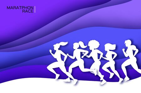 White origami young lady running. Happy fitness woman in paper cut style. Woman runner in silhouette on purple wave background. Jogging. Sport Marathon. Dynamic movement. Side view. 矢量图像