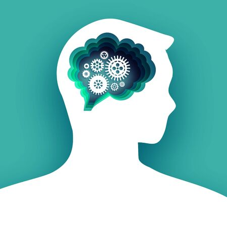 Thinking man in paper cut style. Origami Brainstorming. Brain, gears and cogs working together. Origami brain and thinking process, good idea, brain activity, insight. Green background.