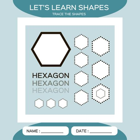 Learn Shapes. Hexagon. Handwriting practice. Trace and write. Educational children game. Kids activity printable sheet. Blue Background. Ilustracja