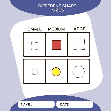 Differnt shape sizes. Small, Medium, Large. Matching children educational game. Activity for pre school years kids and toddlers. Purple background. Square. Circle. Ilustracja