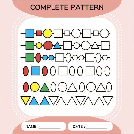 Complete repeating patterns. Worksheet for preschool kids. Practicing motor skills, improving skills tasks. Complete the pattern. Color beads. Red background. Square, circle, oval, triangle