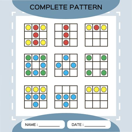 Repeat pattern. Square grid with colorfull circles. Special for preschool kids. Worksheet for practicing fine motor skills. Improving skills tasks. Green A4. Snap game. 2x2.