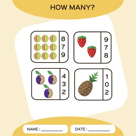 How Many. Count game. Education Counting Game for Preschool Children. Worksheet activity. Fruits. Kiwi, Pineapple, Strawberry,Plum. Food Ilustracja