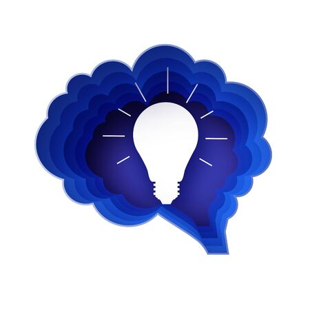 Brain and lightlamp. Light bulb in paper craft style. Origami Electric bulb for creativity, startup, brainstorming, business. Brain shape blue frame. Idea. Ilustracja