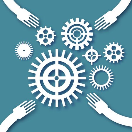 Teamwork design with gears and cogs working together in paper cut style. Origami Concept of a business idea. Teamwork. Strategy. Cooperation. Vector. Illusztráció