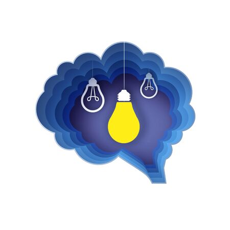 Brain and lightlamps. Light bulb in paper craft style. Origami Electric bulb for creativity, startup, brainstorming, business. Brain shape blue frame. Idea. Ilustracja