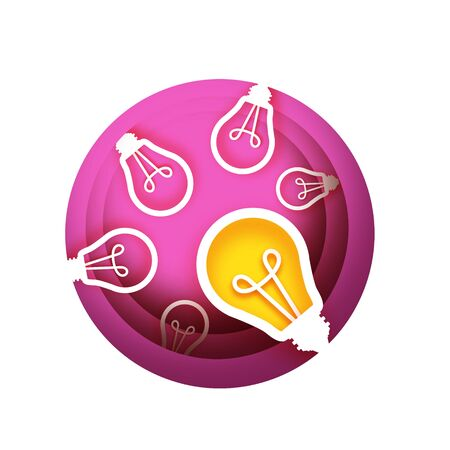 Bulb light idea in paper craft style. Origami bright Electric bulb for creativity, startup, brainstorming, business. Pink layered circle background.