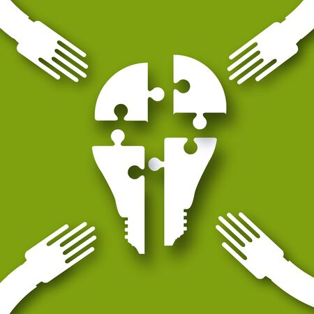 Electric bulb. Puzzles in the form of a light bulb. Concept of big idea. People hand holding shaes. Work together. Business idea. Teamwork. Strategy. Green background.