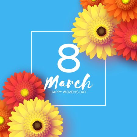 Beautiful Gerbera Flowers. Origami layered Floral bouquet. Happy Womens Day, Mothers Day or Birthday. 8 March. Spring. Paper cut style. Yellow,orange,red floral blossom. Text on blue.