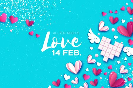 Love Chocolate. Valentines Day Greeting Card. Pink white hearts paper cut style and dessert, candy. Origami Happy holidays. Space for Text. Blue background. Ilustracja