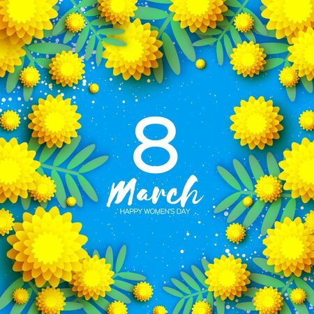 Yellow Mimosa. Beautiful origami silver wattle branches. Original Floral bouquet. Happy Womens Day, Mothers Day or Birthday. 8 March. Spring. Paper cut style. Blue background. Ilustracja