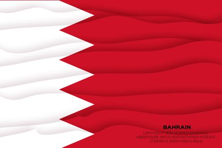 Flag of Bahrain in paper cut style. Middle East. Kingdom of Bahrain.