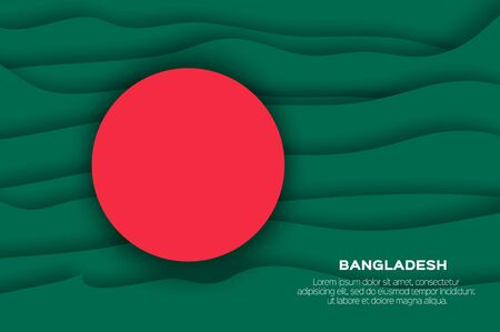 The Flag of Bangladesh in paper cut style.