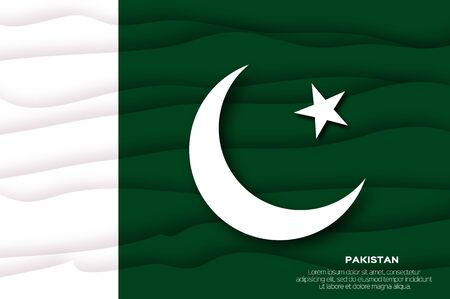 Pakistan flag in official colors in paper cut style.