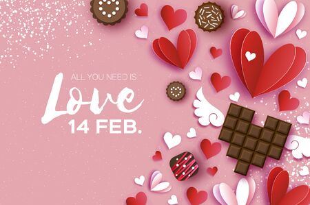 Love Dark Chocolate. Valentines Day Greeting Card. Red white hearts paper cut style and dessert, candy. Origami Happy holidays. Space for Text. 14 February. Vector.