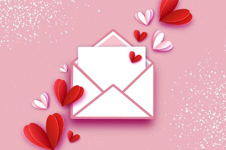 Origami Red, White hearts. Valentines postcard with wings in paper cut style. Romantic Holidays. Love. 14 February. Vector Ilustracja