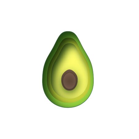 Avocado with avocado leaf in paper cut style on a white background.
