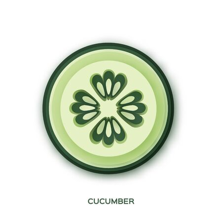 Fresh Cucumber slice in paper cut style. over white background. Green Organic Vegetable. Healthy food. Ilustracja