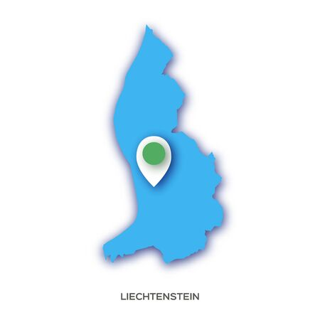 Liechtenstein map silhouette in paper cut style on white background. Country in Europe. Ilustracja