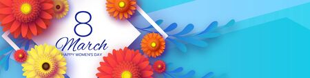 Beautiful Gerbera Flowers Banner. Origami layered Floral bouquet. Happy Womens Day, Mothers Day or Birthday. 8 March. Spring. Paper cut style. Yellow,orange,red floral blossom. Rhombus frame for Text