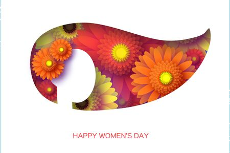 Gerbera Flowers. Woman silhouette. Origami layered Floral bouquet. Happy Womens Day, Mothers Day or Birthday. 8 March. Spring. Paper cut style. Yellow,orange,red floral blossom. Ilustracja