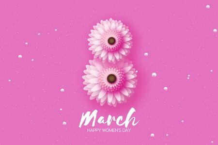 8 March. Beautiful Pink Gerbera Flowers. Origami layered Floral bouquet. Happy Womens Day, Mothers Day or Birthday. Spring. Paper cut style. Floral blossom. Text on pink.