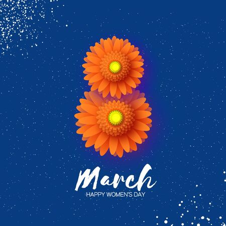8 March. Beautiful Orange Gerbera Flowers. Origami layered Floral bouquet. Happy Womens Day, Mothers Day or Birthday. Spring. Paper cut style. Floral blossom. Text on dark blue. Ilustracja