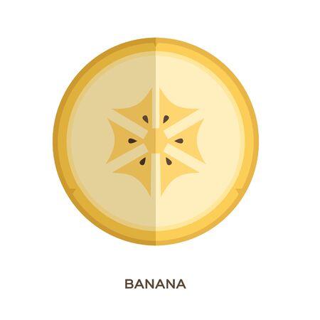One banana slice on white background. Yellow fresh fruit. Healthe food. Vector